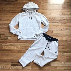 Adidas Melange Light Grey Sweatsuit Hoodie & Crops